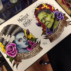 Chris and are getting these😍Frankenstein's monster and his bride Frankenstein Tattoo, Bride Of Frankenstein, Beetlejuice, Desenhos Old School, Tatuaje Old School, Brides With Tattoos, Estilo Rock, Ink Addiction, Desenho Tattoo