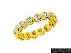 Natural 1.05Ct Round Diamond Gallery Bezel Eternity Wedding Ring 18K Gold F VS2 #JewelWeSell #Band #Anniversary