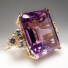8 Carat Natural Amethyst & Diamond Cocktail Ring 14K Gold - EraGem by Gmomma