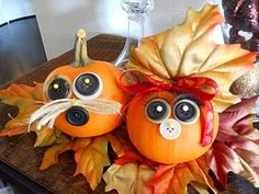 Pumpkins turned into Thanksgiving decorations!