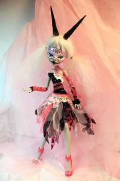Masque of the Pink Death - OOAK Monster High Ghoulia Doll Custom Goth Mime Clown Gothic Repaint by Refabrications #artdoll #ooakdoll #dollrepaint #customdoll #monsterhighdoll #monsterhighrepaint #monsterhigh #unique #strange #weird #goth #gothic #horns #horned #mime #mask #masque #black #pink #white #alteredart #custom #repaint #lace #pvc #tulle #emo #punk #wacky #wild #unusual #OOAK #sale #etsy