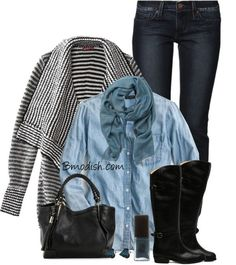 Another super outfit for riding boots are snug fitting khakis with your brown riding boots, a beautiful cable knit white sweater and a blush scarf, and a lovely blush colored tote.