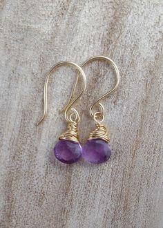 14kt Gold filled amethyst briolette earrings - gemstone earrings - wire wrapped jewellery - purple earrings - wire wrap earrings - gemstones by Mishalijewellery on Etsy