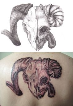 Simple Upper Back Cover Up With Simple Aries Tattoo Design . Biomechanical Tattoo Design, Tattoo Designs, Tattoo Ideas, Picture Tattoos, Aries, Ink, Simple, Art Ideas, Cover