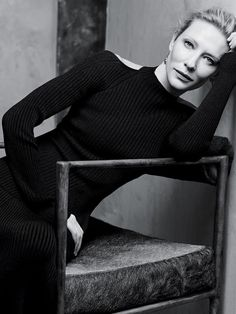Cate Blanchett in a ribbed cutout sweater dress for T Magazine