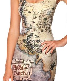 These Exist: BlackMilk's Lord Of The Rings Dresses With Middle Earth Maps. Shut up! I need this.