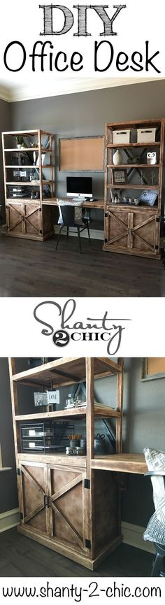 Build your own DIY Office Desk System! Print the free plans and follow along with the how-to tutorial to build your own furniture! www.shanty-2-chic.com