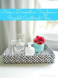 Make a Decorative Tray from a Recycled Cardboard Box #DIY