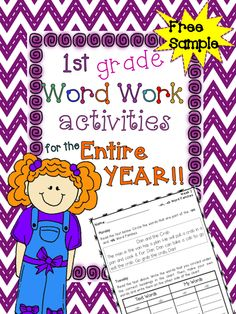 1st Grade Word Work activities with short stories, sorting, identifying, sentence writing, and more! Click on the link to download.