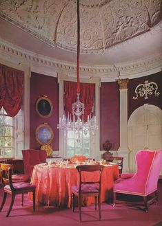 David Hicks - The mauve, pink and red dining room at Britwell House, Oxfordshire. David Hicks: A Life of Design by Ashley Hicks.