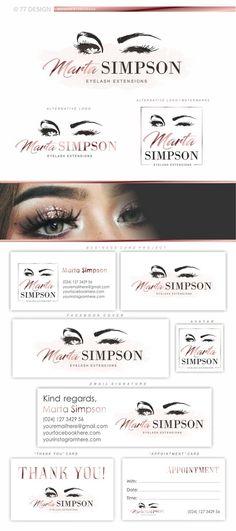 Eyelash Makeup Artist, Lashes logo design, Microblading branding kit, Lash logo package, lash extensions logo, Lash and eyebrows logo 013