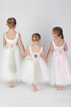 Silk taffeta and tulle flower girl dress with ballerina back, silk satin sash and handmade silk flower.