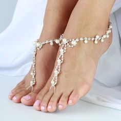 Barefoot sandals with rhinestones and pearl beads. One Size fits all - 'LAI LANI' on Etsy, $49.95 AUD