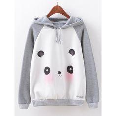 Women Cartoon Panda Printed Long Sleeve Cotton Hooded Sweatshirt ($19) ❤ liked on Polyvore featuring tops, hoodies, grey, comic book, gray top, cartoon hoodies, collar top and gray hoodies