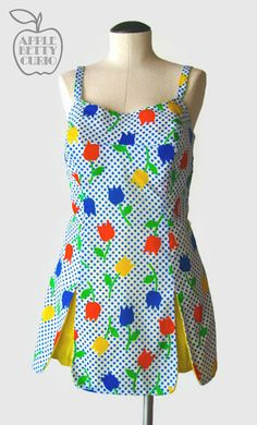 Vintage 1960's Kiss my Tulips Swimsuit - Playsuit Romper Swim Dress with Smocked Fit - Gabar New York for Abercrombie & Fitch - M to L