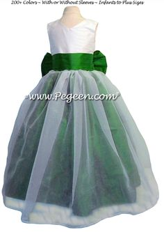 Emerald Green and Antique White Silk and Organza Flower Girl Dresses by PEGEEN STYLE 301 by Pegeen~ Located 1 mile from Disney World, Selling online and shipping worldwide. Call us for design help! 407-928-2377