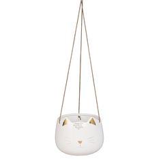 Cache-pot suspendu chat en céramique blanche H12