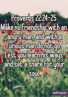 Make no friendship with an angry man; and with a furious man thou shalt no go: Lest thou learn his ways, and get a snare to thy soul.  --Proverbs 22:24-25    I chose these two verses because they s...