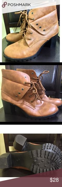 💋💋 Cognac Combat Booties 💋💋 Practically New. Make me a reasonable offer ‼️ Shoes Ankle Boots & Booties