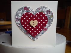 Handmade heart card made with fabric Fabric Cards, Fabric Postcards, Homemade Anniversary Cards, Mothering Sunday, Sewing Cards, Star Cards, Paint Cards, Fabric Pictures, Mini Canvas