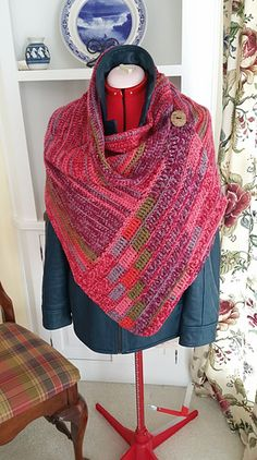 Ravelry: Buttoned Wrap pattern by Paula Marshall Crochet Cowel, Crochet Wrap Pattern, Crochet Poncho Patterns, Crochet Buttons, Crochet Scarves, Crochet Clothes, Knitting Patterns, Finger Crochet, Stitch Witchery