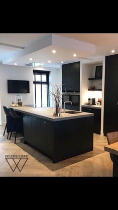 Garage To Living Space, Open Plan Kitchen Living Room, Kitchen Dining Living, Home Decor Kitchen, Kitchen Interior, Home Room Design, Home Design Decor, Home Interior Design, Interior Modern