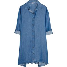 Splendid Belted denim shirt dress (6.980 RUB) ❤ liked on Polyvore featuring dresses, mid denim, long denim shirt dress, belted dresses, blue dress, loose dress and loose shirt dress