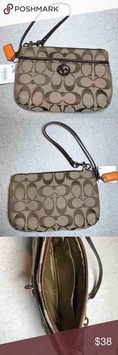 NWT Coach Wristlet NWT Coach signature fabric wristlet. Zip compartment has one slip pocket. Front turn key latch pocket is real pocket. Trim is patent brown in color. Coach hang tag is orange for pop of color. No rips, snags, stains or discolorations. Coach Bags Clutches & Wristlets
