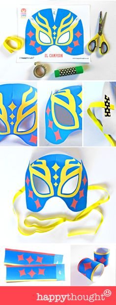 DIY Lucha Libre mask! 12 printable 3D mask and cuff templates by Happythought.co.uk