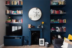 Tour a Colorful & Contemporary London Flat — Apartment Therapy Cozy Library, Cleaning Walls, Wall Paint Colors, Teal Paint, Dark Walls, Decorating On A Budget, Cottage Decorating, Apartment Therapy, Bedroom Apartment