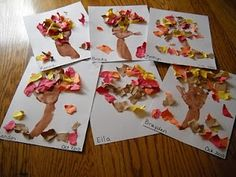 Handprint tree. Tear up pieces of construction paper. Glue to white paper.