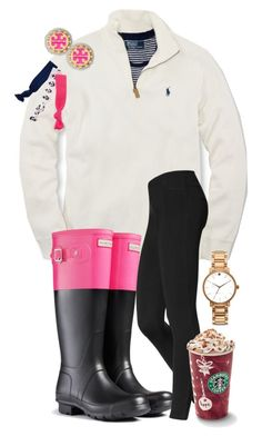 """""""lazy day"""" by blondecurls ❤ liked on Polyvore featuring Polo Ralph Lauren, Hunter, Hue, Tory Burch, Kate Spade and Twistband"""