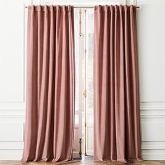 Also like light grey or ivory Shop Velvet Dusty Orchid Curtain Panel. Lush cotton/velvet frames your windows in luxurious warmth. Rich in texture and beauty, plush panels in chic dusty orchid reduce sound and darken the room. Silver Grey Curtains, Pink Velvet Curtains, Grey Linen Curtains, Rose Curtains, Leaf Curtains, Black Curtains, Curtains Living, Dusty Pink Curtains, Patterned Curtains