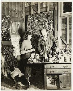 Jackson Pollock and Lee Krasner in his studio (Larry Larkin, 1950)