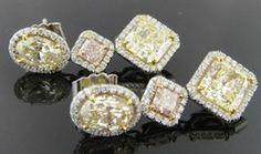 Ferro Jewelers - Estate Jewelry | THREE-STONE YELLOW & PINK DIAMOND DROP EARRINGS