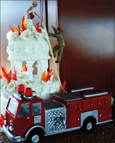 Firefighter Rescue Wedding Cake.  Yes please!