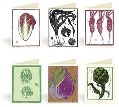 Vegetable and Fruit Block Print notecards pack 1 by drenculture, $16.00
