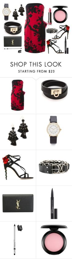 """Pencil dress"" by hillarymaguire ❤ liked on Polyvore featuring Christian Dior, Salvatore Ferragamo, Kate Spade, Marc Jacobs, Dolce&Gabbana, McQ by Alexander McQueen, Yves Saint Laurent, Smashbox, Trish McEvoy and MAC Cosmetics"