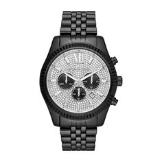 Quartz mens wristwatch with stainless steel case, with diameter 45 mm, silver dial and black stainless steel band. Michael Kors Men, Michael Kors Watch, Black Stainless Steel, Stainless Steel Watch, Bulova, Quartz Watch, Daniel Wellington, Chronograph, Tommy Hilfiger