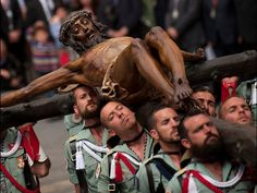 March 28, 2013. Soldiers from the Spanish Legion carry a statue of the Christ of the Good Death to the Santo Domingo de Guzman church during a Holy Week procession in Malaga, Spain. Jorge Guerrero, AFP/Getty Images