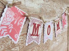 Mother's Day Banner MOM  Gift  Card  Coral by WhateversHandmades, $21.50