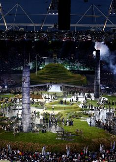 Opening Ceremony  Performers depict a view from the change of the English countryside to the Industrial Revolution during the Opening Ceremony of the London 2012 Olympic Games at the Olympic Stadium on July 27, 2012 in London, England.