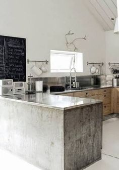 Image result for stainless steel bench wood kitchen