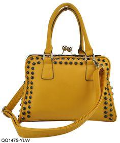 Yellow - Studded & Clip Closure Ladies Bag, £19.99