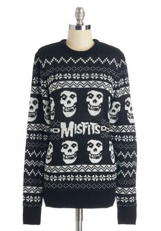 We Wish You a Merry Misfits Sweater. Rockin around the tree is even better when youre cozy and warm in this Misfits sweater! #black #modcloth