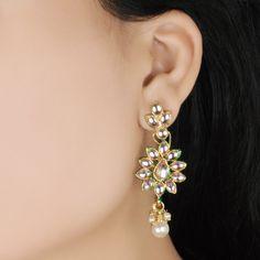 Buy Styonal White Flower Kundan Earrings Online in India @ UrbanTouch.com