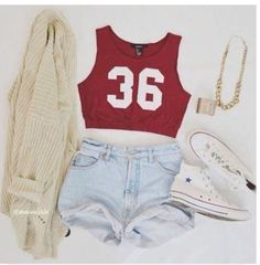 red crop top, light wash high-waisted shorts, cream cardigan white converse, but for me take away tht sweater Tumblr Outfits, Mode Outfits, Girl Outfits, Fashion Outfits, Converse Fashion, Outfits 2016, Converse Style, Converse Mode, Converse Shoes