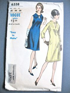 """Vogue 6338 Young Fashionables Mid 1960s """"Easy to Make"""" A-line Mod OnePiece Dress Vintage Sewing Pattern Peekaboo Keyhole Neckline Bust 34"""