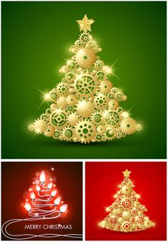 """Set of 3 vector stylized Christmas trees backgrounds with gilded Christmas tree templates, for your greeting cards, holiday posters, banners, advertising elements, etc. Format: EPS stock vector clip art and illustrations. Free for download. Set name: """"Stylized Christmas trees backgrounds…"""