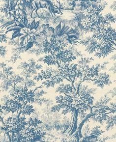 Stag Toile by Little Greene - Juniper - Wallpaper : Wallpaper Direct